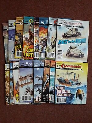16 commando comics vintage job lot in perfect conditionDated 1996 cover price55p