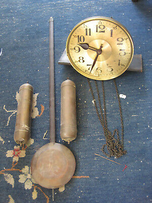 Longcase German 8 day 2 train Clock Brass cased weights & Pendulum