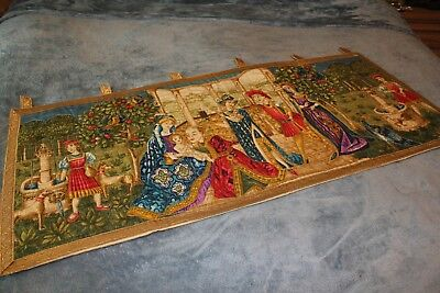 "Vintage Wall Hanging Tab top Tapestry French with gold threading Lined 50"" x 24"""