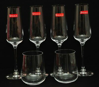 Spiegelau Crystal Champagne Flute & Stemless Wine Glass Set X6 New With Labels