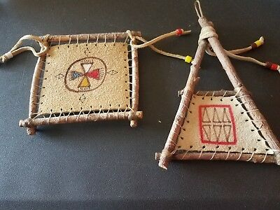 Indian Native American Leather Cloth Rug Weaving Displays Set of 2