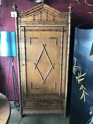 Antique Bamboo Armoire With Key
