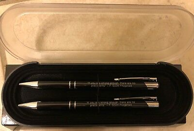 Pen and Pencil Gift Set F. Scott Fitzgerald Quote NEW