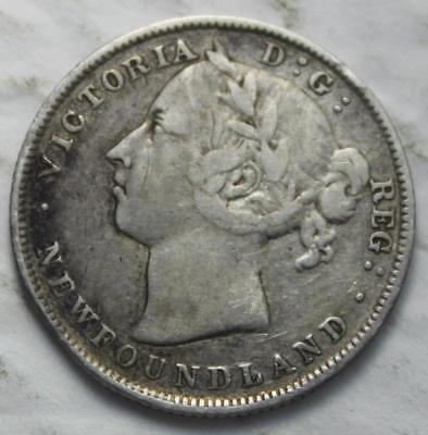 Newfoundland 1888 Silver 20 Cents, Nice Grade, Old Date Queen Victoria