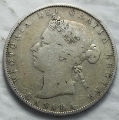 Canada 1871H Silver 50 Cents, Old Date Queen Victoria