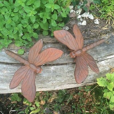 Pair Of Rustic Look Cast Iron Metal Dragonfly Ornaments/Statue