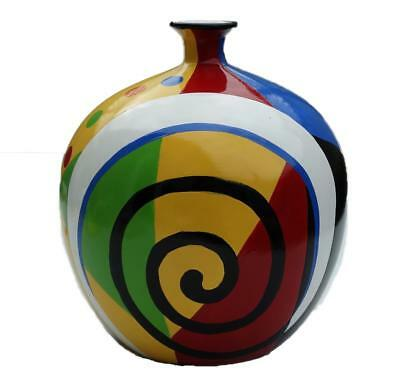 """9"""" Hand Painted Ceramic Jug Vase Home Decor Art Pottery Collectible Heavyweight"""