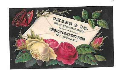 Chase & Co Confections Roses Red Butterfly Envelope  Vict  Card c1880s