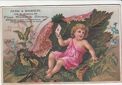 Chase & Woodruff Boots & Shoes Greene St Leaf Letter Victorian Card c 1880s