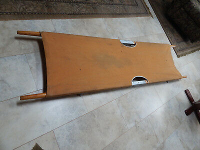 vintage  canvas wood metal  folding  medical emergency stretcher 7 ft.