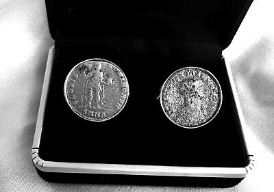 Certified 200-350Ad Genuine Roman Emperor Silvered Coins Set In Cufflinks.    A2