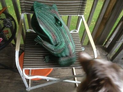 """Vintage Large green Wicker Rattan 19"""" FROG  Basket w Marble Eyes From 1960's"""