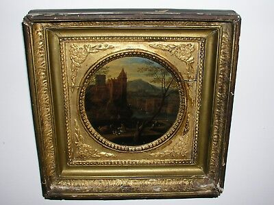18th Century Antique Pair Oil Painting on board Castle Landscapes ORIGINAL FRAME