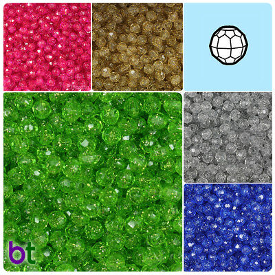 BeadTin Sparkle 6mm Faceted Round Craft Beads (750pcs) - Color choice