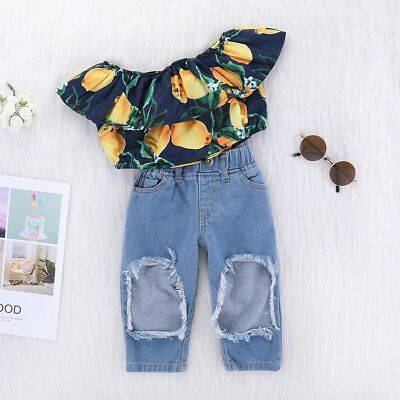 Toddler Kids Baby Girls Mango Off Shoulder Tops Denim Pants Jeans Outfits Set