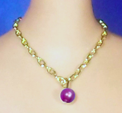 Barbie Dreamz PURPLE PLUM Graduated Pearl NECKLACE ONLY Doll Jewelry