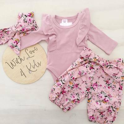 3pcs Baby Girls Romper Top+Floral Pants Outfits Newborn Kids Cotton Clothes Set