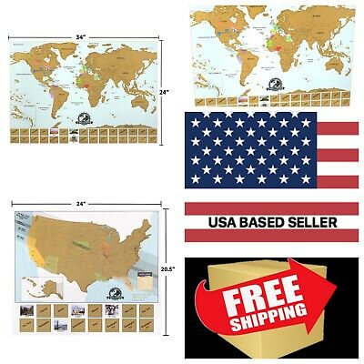 XL SCRATCH OFF Map of The World + Scratch Off Map of The United ...