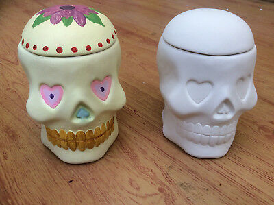 Ceramic Bisque Ready to Paint Your Own Pottery Love Heart Skull Box