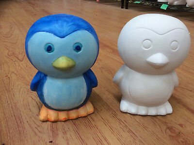 Ceramic Bisque Ready to Paint Your Own Pottery Large Penguin Money Box Bank