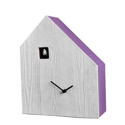 CEMENTO purple Cuckoo Wall or Mantel Mounted Clock concrete front side