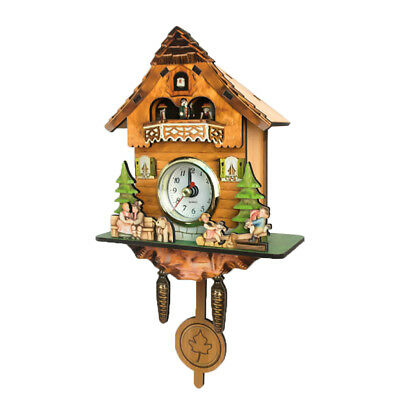 Creative Wooden Handcrafted Cuckoo Clock Carved Battery-operated Clock B