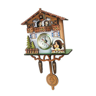 Creative Wooden Handcrafted Cuckoo Clock Carved Battery-operated Clock D