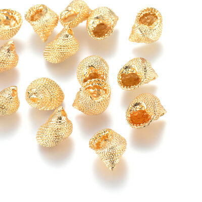20pcs Gold Plated Brass Conch Shell Pendants Bumpy Dangle Charm Findings 14x10mm