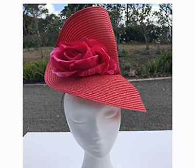 Red High Twisted Fascinator with Pink Flower - Made in Aus - A0065