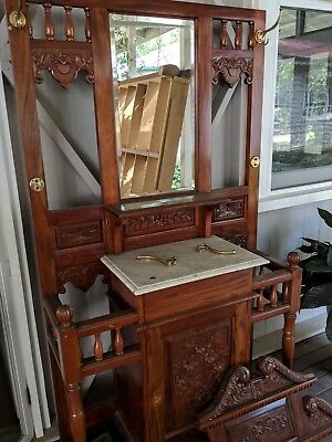 Antique Style Timber Hall Stand, Ornate Carved Timber, Mirror