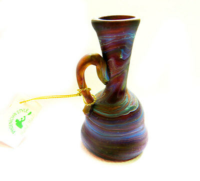 Glass vase Phoenician style colourful  recycled from glass handmade in Israel