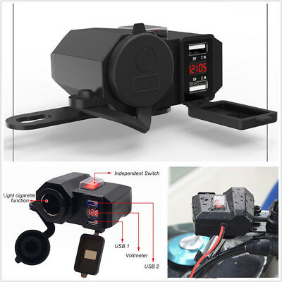 Waterproof Motorcycles Handlebar Mount Dual USB Charger+LED Voltmeter 2.1A&2.1A