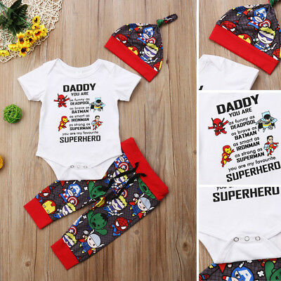 5572f68fd USA Newborn Baby Boys Girls Avengers Superhero Romper Pants Outfits Set  Clothes