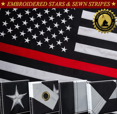 Thin Red Line Flag 3x5 FT Flag Embroidered Stars Sewn Stripes 2 Brass Groomets..