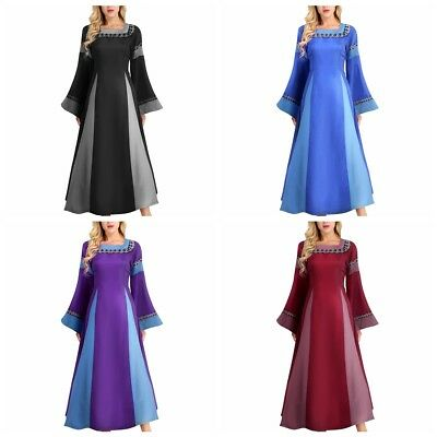 Medieval Renaissance Bell Sleeve Queen Gown Cosplay Dress Costume Fancy Party