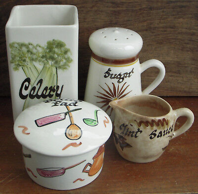 4 Toni Raymond Pottery Items Celery Jar Sugar Sifter Mint Jug Brillo Pad Holder