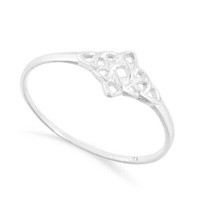 NEW 925 Solid Sterling Silver Celtic 4 Point Pattern  Ring in Sizes G-Z 20 Sizes