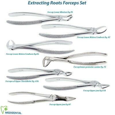 Extracting Tooth Forceps Set Lower Upper, Left Right Molars Root Tip Extraction