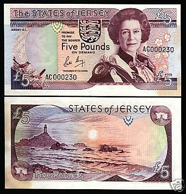 Jersey 5 Pounds P16 1989 Queen Low Serial # Unc Great Britain Uk Money Bank Note