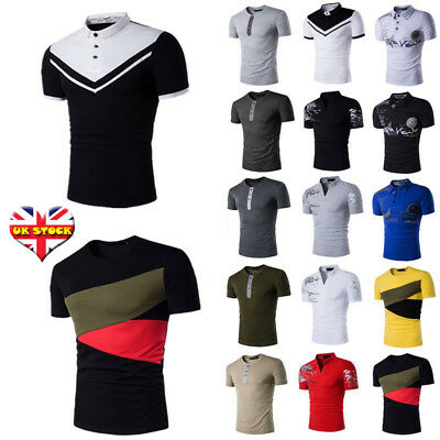 Men Summer Casual Tee Shirt Short Sleeve Slim Fit Blouse Polo Shirts Casual Tops