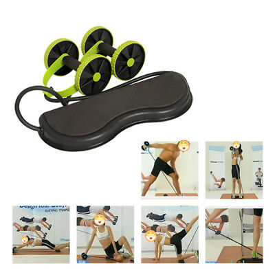 Core Double Wheels Ab Roller Pull Rope Abdominal Muscle Wheel Waist Slimming G