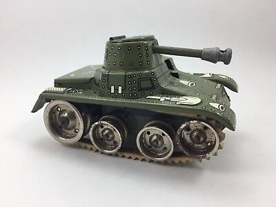 Gama Panzer tank windup mechanisch works military toy tin Blech Militär