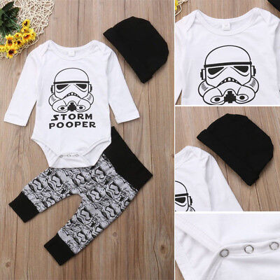 Newborn Infant Baby Star Wars Romper Top Leggings Pant Hat 3pcs Set Outfit 0-18M