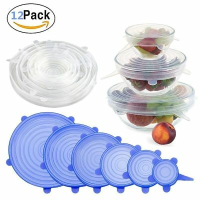 12 X Super Stretch Lids Silicone Bowl Covers Universal Food Covers Lids Easy Fit