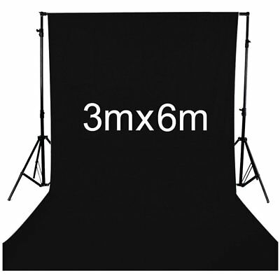 3m x 6m Black Background 10ftx20ft Backdrop For Photo Studio Lighting Stand Set