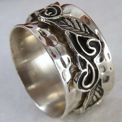 HAMMERED VINE SPINNER US 10.25 SilverSari RING Solid 925 Sterling Silver SPR1002