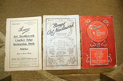 ANTIQUE SEMCO ART NEEDLEWORK INSTRUCTION BOOKS: numbers 3, 5 and 8