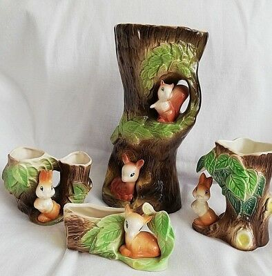 Vintage Eastgate Withernsea Pottery Fauna Jug Vase And Posy Vases Etc