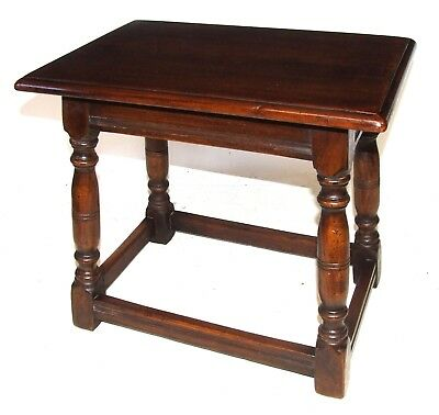 Antique Carved Oak Joint Stool / Occasional Table / Lamp Stand by ARIGHI BIANCHI