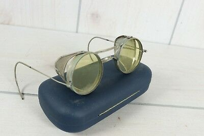 Vintage Safety Glasses Yellow Lenses Side Shield Mesh Steampunk Biker Motorcycle
